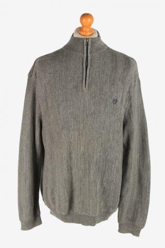 Chaps Half Zip Neck Jumper Pullover 90s Grey XL
