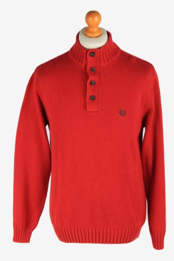 Chaps Button Neck Jumper Pullover Red M
