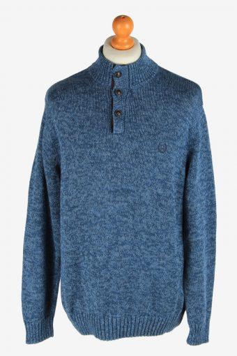 Chaps Button Neck Jumper Pullover Elbow Patch Dark Blue L