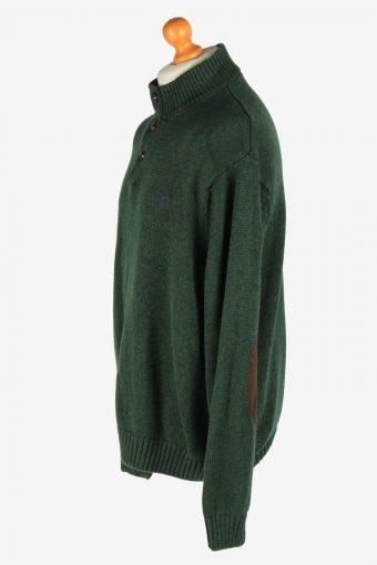 Chaps Button Neck Jumper Pullover Elbow Patch Vintage Size XXL Dark Green -IL2538-162275
