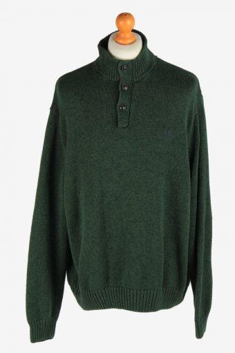 Chaps Button Neck Jumper Pullover Elbow Patch Dark Green XXL