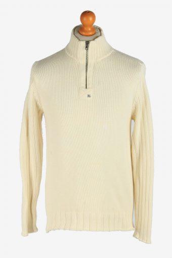 Polo Ralph Lauren Half Zip Neck Jumper Pullover 90s Beige M