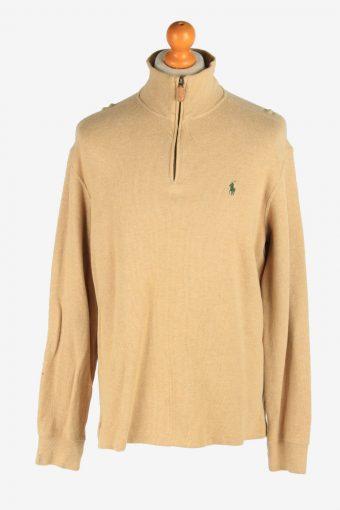 Polo Ralph Lauren Zip Neck Jumper Pullover 90s Coffee M