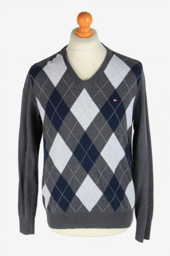 Tommy Hilfiger V Neck Jumper Pullover 90s Multi M