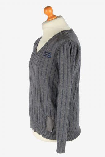 G-Star V Neck Jumper Pullover Vintage Size L Dark Grey -IL2548-162315