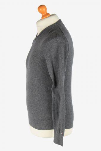 Tommy Hilfiger V Neck Jumper Pullover Vintage Size XS Dark Grey -IL2549-162319