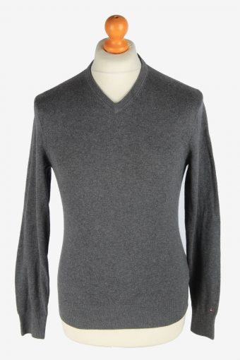 Tommy Hilfiger V Neck Jumper Pullover 90s Dark Grey XS