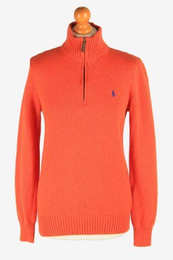 Polo Ralph Lauren Zip Neck Jumper Pullover 90s Women Orange XL