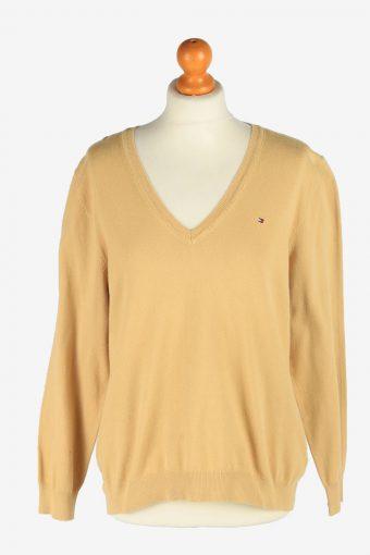 Tommy Hilfiger V Neck Jumper Pullover 90s Women Coffee XXL