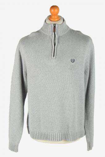 Chaps Zip Neck Jumper Pullover 90s Grey L