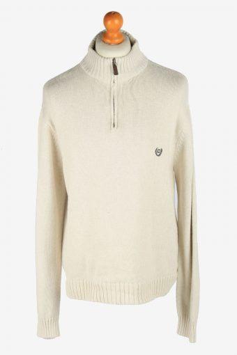 Chaps Zip Neck Jumper Pullover 90s Beige XXL