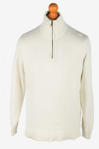 Nautica Zip Neck Jumper Pullover 90s White M