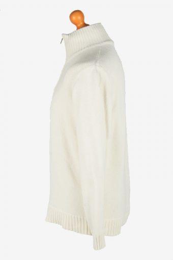 Nautica Zip Neck Jumper Pullover Vintage Size M White -IL2400-161010