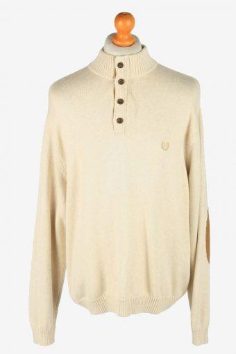 Chaps Button Neck Jumper Pullover 90s Beige XL