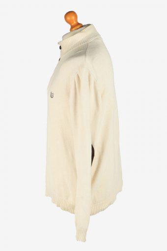 Chaps Button Neck Jumper Pullover Vintage Size L Beige -IL2402-161018