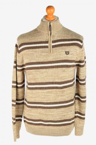 Chaps Zip Neck Jumper Pullover 90s Coffee M