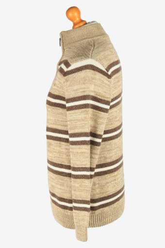Chaps Zip Neck Jumper Pullover Vintage Size M Coffee -IL2403-161022
