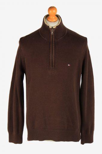 Tommy Hilfiger Zip Neck Jumper Pullover 90s Dark Brown M