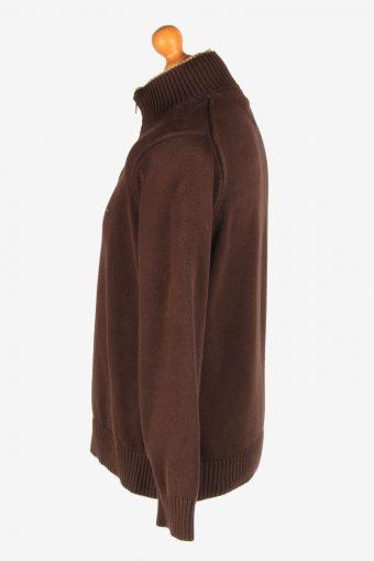 Tommy Hilfiger Zip Neck Jumper Pullover Vintage Size M Dark Brown -IL2405-161030
