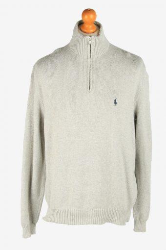 Polo Ralph Lauren Zip Neck Jumper Pullover 90s Light Grey XL