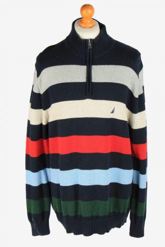 Nautica Zip Neck Jumper Pullover 90s Multi XL