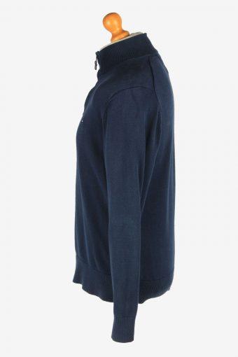 Tommy Hilfiger Zip Neck Jumper Pullover Vintage Size L Navy -IL2408-161042
