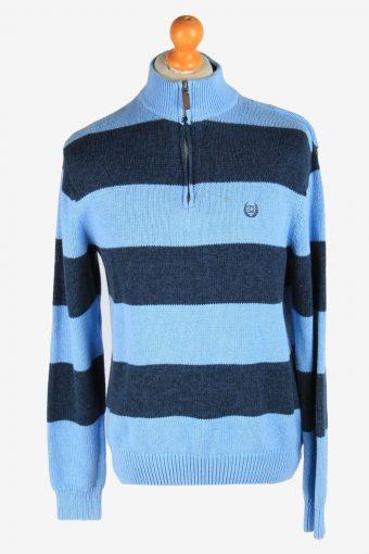Chaps Zip Neck Jumper Pullover 90s Blue L