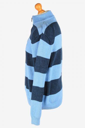 Chaps Zip Neck Jumper Pullover Vintage Size L Blue -IL2410-161050