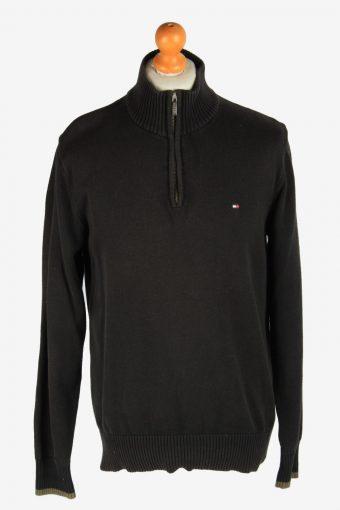 Tommy Hilfiger Zip Neck Jumper Pullover 90s Black L