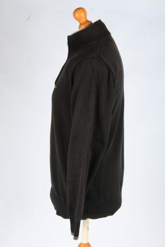 Tommy Hilfiger Zip Neck Jumper Pullover Vintage Size L Black -IL2412-161058