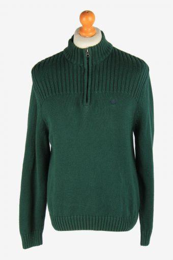 Chaps Zip Neck Jumper Pullover 90s Green L