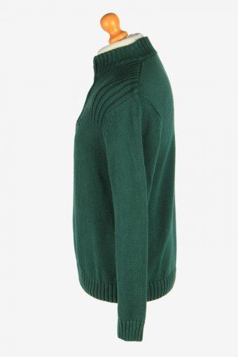Chaps Zip Neck Jumper Pullover Vintage Size L Green -IL2416-161074