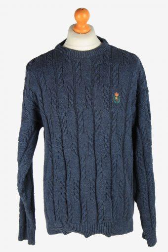 Chaps Crew Neck Jumper Pullover 90s Blue L