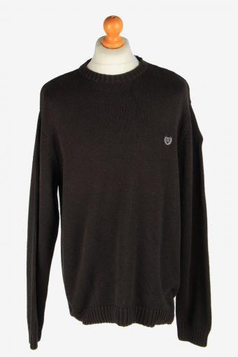 Chaps Crew Neck Jumper Pullover 90s Black XL