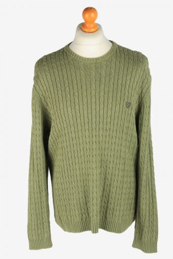 Chaps Crew Neck Jumper Pullover 90s Green XL
