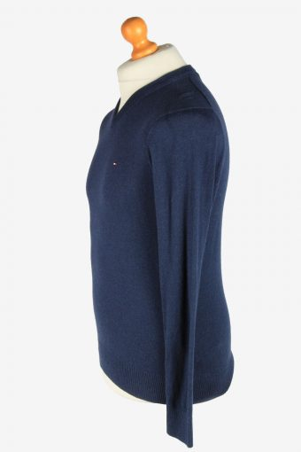 Tommy Hilfiger V Neck Jumper Pullover Vintage Size S Navy -IL2453-161222