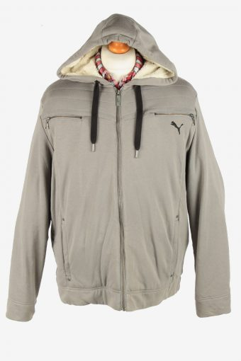 Puma Men's Jacket Sherpa Lined Hooded Vintage Size L Grey C2884