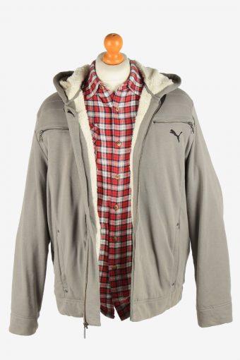Puma Men's Jacket Sherpa Lined Hooded Vintage Size L Grey C2884-160612