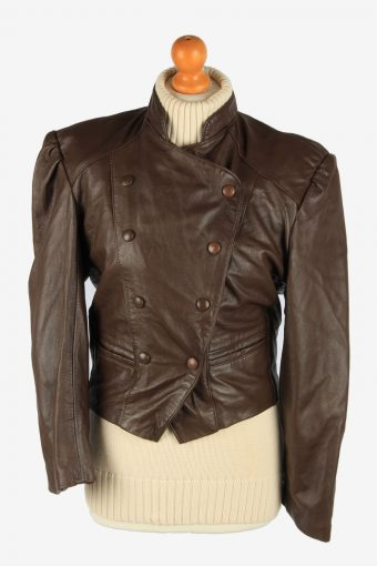 Real Leather Womens Jacket Snap Lined Vintage Size L Dark Brown C2888