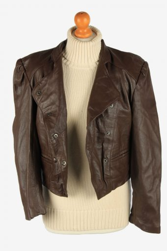 Real Leather Womens Jacket Snap Lined Vintage Size L Dark Brown C2888-160828