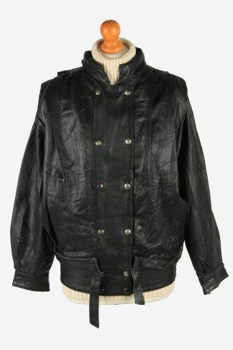 Genuine Leather Womens Jacket Snap Lined Vintage Size L Black C2889