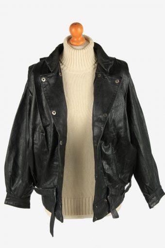 Genuine Leather Womens Jacket Snap Lined Vintage Size L Black C2889-160834