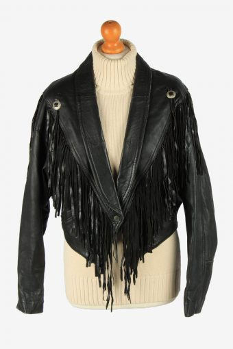 Real Leather Tussle Womens Jacket Snap Lined Vintage Size M Black C2890