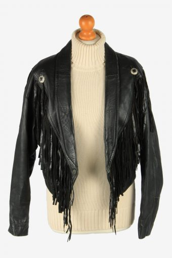 Real Leather Tussle Womens Jacket Snap Lined Vintage Size M Black C2890-160840