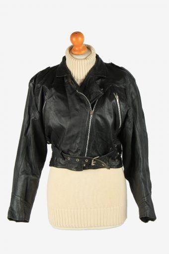 Women's Genuine Leather Bomber Jacket Zip Up Lined Vintage Size S Black C2891