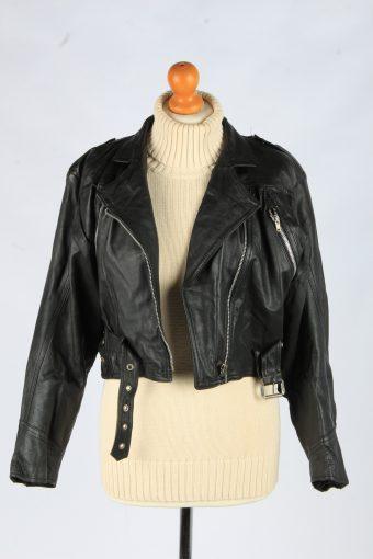 Women's Genuine Leather Bomber Jacket Zip Up Lined Vintage Size S Black C2891-160846