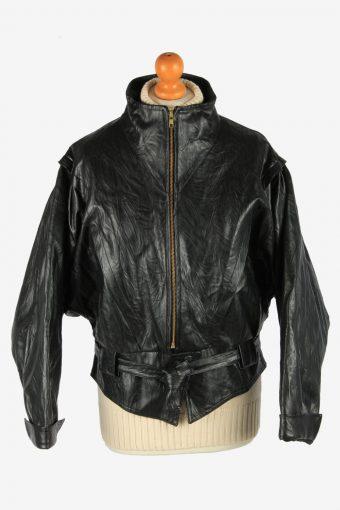 Women's Real Leather Jacket Zip Up Lined Vintage Size L Black C2892