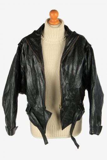 Women's Real Leather Jacket Zip Up Lined Vintage Size L Black C2892-160852