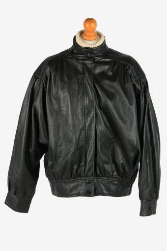 Women's Genuine Leather Zip Up Lined Vintage Size XXL Black C2893
