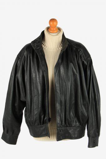 Women's Genuine Leather Zip Up Lined Vintage Size XXL Black C2893-160858